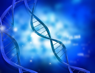 DNA structure on abstract blue background .