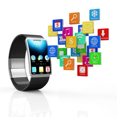 Modern Black Smart Watch with Cloud of Application Icons