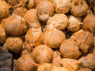 Fresh coconuts at the openair market i