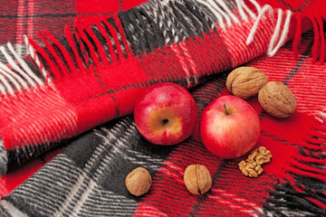 plaid, apples and nuts