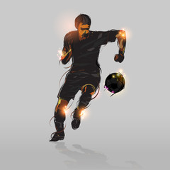 abstract soccer striker