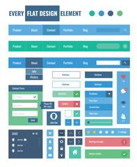 Flat ui kit design elements for webdesign