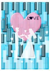 Silhouette, wedding invitation card Illustration