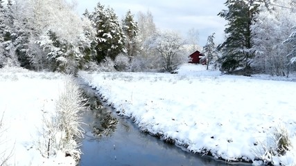 Riverside winter landscape at Houtskari island, Finland