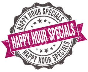 happy hour specials grunge violet seal isolated on white