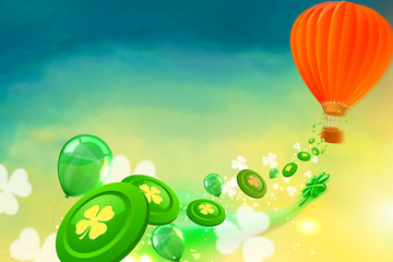 Hot air balloon with casino chips, clovers and baloons