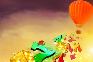 Hot air balloon with dice, luky sevens and baloons flying from