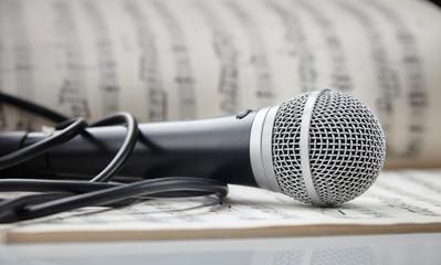 Microphone on sheet music