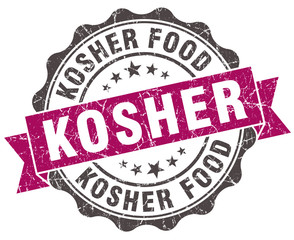 kosher grunge violet seal isolated on white