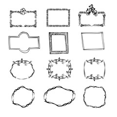 Set of 12   black and hand drawn frames
