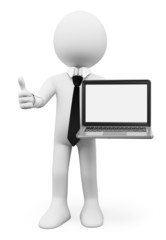 3D white people. Businessman with a laptop with blank screen