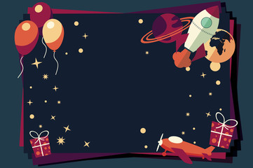 Background with balloons, presents, rocket ship and planets