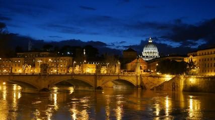 St. Peter's Basilica, Ponte Sant Angelo Bridge, Vatican. Rome, I