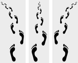 Trail of human bare footsteps, vector