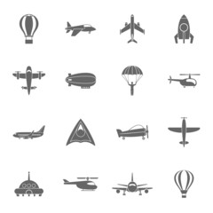 Aircraft icons set black