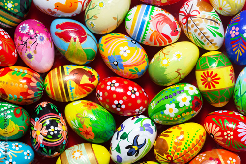 Handmade Easter eggs background. Spring patterns art, unique. - 78104871