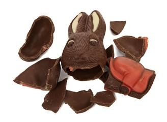 broken chocolate bunny