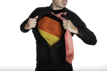 Man with German Flag under Shirt