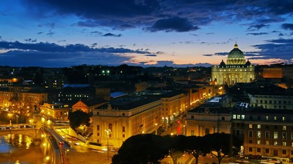 St. Peter's Basilica, Vatican. Rome, Italy. Time lapse