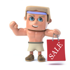 3d Bodybuilder holding a Sale bag