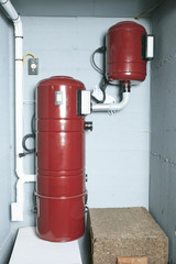 An red air cleaner system at home.