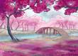 Spring. Cherry blossom. Japanese garden. - 78107036