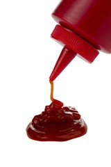 closeup bottled ketchup