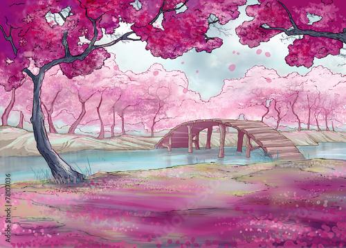 Spring. Cherry blossom. Japanese garden. © LoFfofora