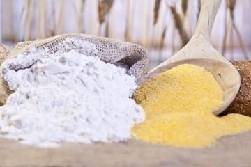 a sack of flour and maize flour