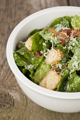 cropped bowl with caesar salad