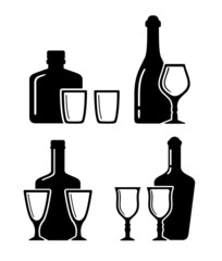 set alcohol beverage icons with bottle and glass