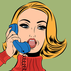 pop art retro woman in comics style talking on the phone