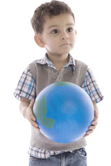A Little boy holding the earth over white backgrounde