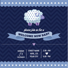baby shower invitation with sheep in retro style