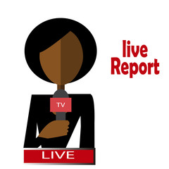 afro woman journalist live and direct