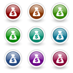 money web icons colorful vector set