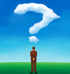Back view of a man looking at a cloud question mark-shaped