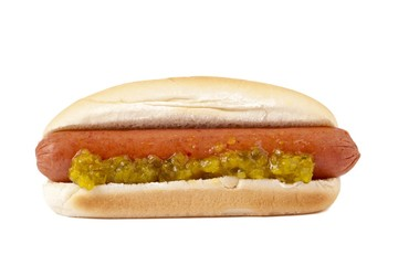 hotdog sandwich with crushed pickles