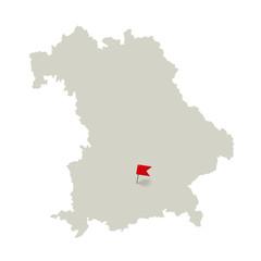 Bavaria, map - Munich tagged