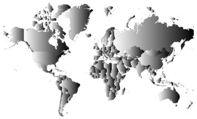 World map with gray and white gradient