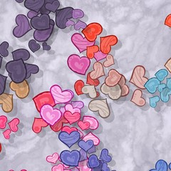 Colored hearts scattered on patterned background