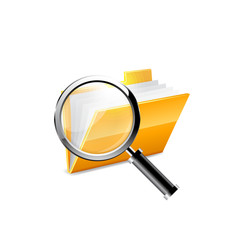 yellow folder icon and magnifying glass
