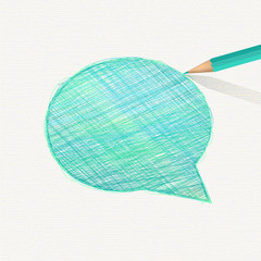 Hand-drawn speech bubble. Sketch pencil drawing