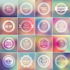 Set of vintage badges and blurred backgrounds.