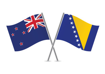 New Zealand and Bosnia and Herzegovina flags. Vector.