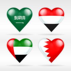 Saudi Arabia, Yemen, Arab Emirates and Bahrain heart flag set