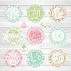 Set of retro badges. Vintage food labels. Hand-drawn lettering.