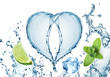 Valentine Heart from water splash, mint, ice and lime