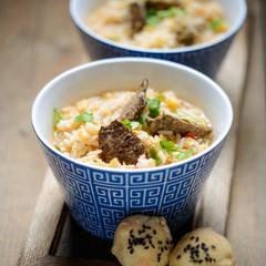 Reis mit dunklem Sojafleisch