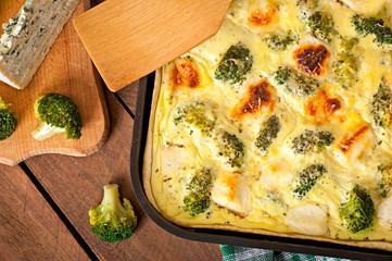 Quiche with broccoli and feta cheese